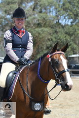 Keeping cool on a hot day, Tina Eason rode her, 'Venus' to win the class for HRCAV Mount Most Suitable Level 1 and 2.