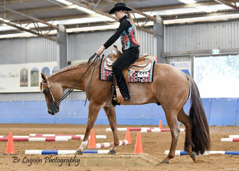 HOLLY GUTTERSON RIDING SRQ ITS A LOVE THING IN THE SENIOR YOUTH TRAIL 14-18 YEARS