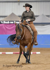 KAREN O'KEEFE RIDING ZIP TWO BLAZES IN THE AMATEUR RANCH RIDING