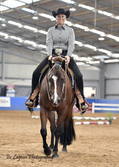 LANA KELDERMAN RIDING BEYOND DOUBT PLACED FIRST IN THE 3 YEAR OLD TRAIL