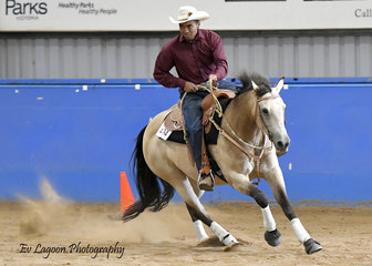 NICS MISS KISSMEQUICK, RIDDEN BY DANNY KOPA IN THE SENIOR HORSE REINING