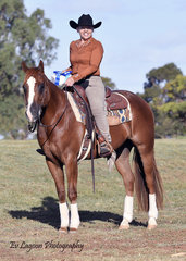 SHELLY BIANCON, VICTORIAN STATE CHAMPION, SELECT AMATEUR RANCH RIDING AND SELECT AMATEUR REINING, RIDING SNINEY AND GAY.