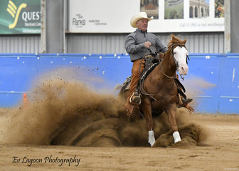 MY DIRTY HARRY RIDDEN BY PAUL BARRETT IN THE $500 OPEN REINING STAKES.