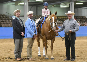 JUDGES SHANE MASSINGHAM (QLD) AND CRAIG RATH (VIC) WITH YOUTH 3-6 YEARS LEADLINE WINNER STEVIE BATTEN RIDING TALL DARK N OKAY, WITH ASSISTANCE FROM LEN BATTEN