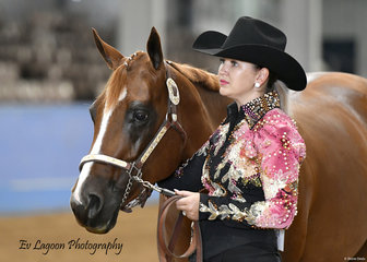 KAYLA SENIOR WITH MINNIE THE MOOCHER IN THE QUARTER HORSE MARE 4 YEARS AND OVER HALTER CLASS