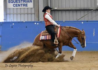 AMBER DENTON WINNING THE SENIOR HORSE REINING ON OP WHIZZEL DO.JPG