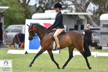 Tahlia Young is pictured aboard Greg Gerry's, 'Whitmere Etherial' during the class for Child's Medium Pony Hack on day one of the 50th Barastoc Celebration Victorian Horse of the Year Show