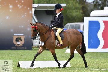 Annabelle Richardson rode Maddy Ginn's. well performed, 'Harrington Park Symphony' to claim the 2019 Barastoc Child's Medium Pony Championship.
