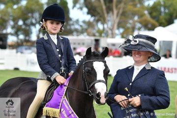 Alexandra Bowen's, 'Palmerston Rosie' claimed the 2019 Leading Rein Show Hunter Pony Reserve Championship.