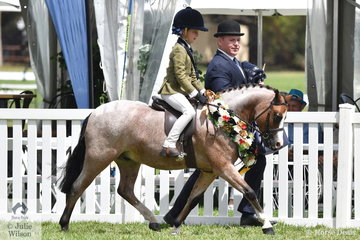 Ivy Aikman did the riding and Jeremy Roberts the wrangling of Smanatha Mullan's, 'Wyann Tiddleywinks' to claim the 2019 Leading Rein Show Hunter Pony Championship at the 50th Celebration Barastoc Victorian Horse of the Year Show.