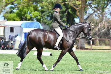 Kaitlin Labahn-Meyland had a successful day and claimed the Child's Small Show Hunter Hack Championship riding Vicki Berwick's, 'Dreamtime Xcalibur'.