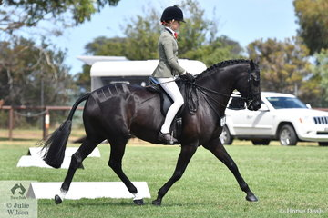 Ebonie Lee was another very successful young rider on day one of the 50th Celebration Barastoc Victorian Horse of the Year Show. She is pictured riding her, 'Zena PPH' to claim the Child's Small Show Hunter Hack Reserve Championship.