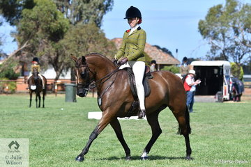 Successful young rider, Izabella McIntyre rode Blaine Perkins' well performed, 'Meteor Showers'  to take out the Child's Small Show Hunter Galloway Reserve Championship.