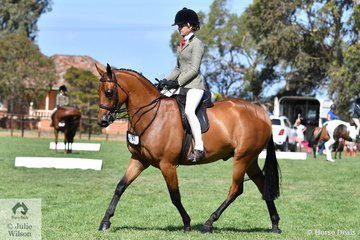 Ebonie Lee rode Terry Van Heythuysen's, 'Riegal Manolete' to  win the  Child's Small Show Hunter Galloway Championship.