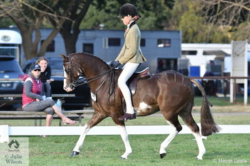 Minna Baxter was thrilled to ride her 'Imperial Jester' to win the Child's Medium Show Hunter Pony Championship.