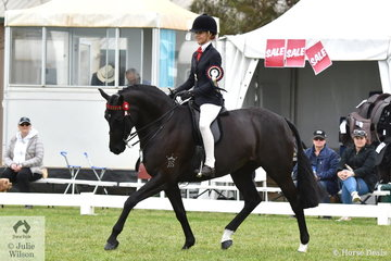 Ebonie Lee was on short odds and she came home with the Barastoc 50th Anniversary Celebration Show Rider 15, 16 and 17 Years Championship.