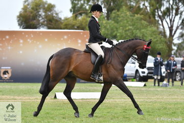 Ali Berwick rode Jessica Fraser's well performed, 'Royalwood Concerto' to take third place in the 2019 Barastoc Large Galloway Championship.