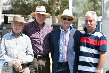 Waiting for the Barastoc jumping to start! L-R Jack Eden, Denis Heather, Peter Gardiner and John De Marco. Barastoc started as a jumping show and was one of the premier jumping shows in the country for a number of years.