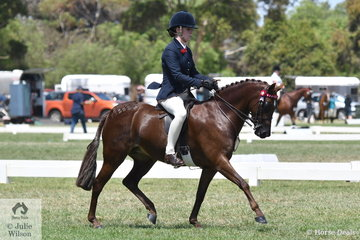 Cassandra Fasan-Jones rode her, 'Kyandra Picturesque' to take third place in the 2019 Barastoc Medium Pony Championship.