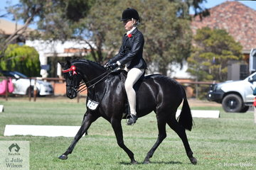Stephanie Barrington rode  Alexandra Padey's well performed, 'Wynara Midnight Serenade' to claim the 2019 Barastoc Large Pony Reserve Championship.