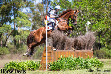 Emma Mason and Aramatai Fox safely over fence 7, sponsored by YES Events.