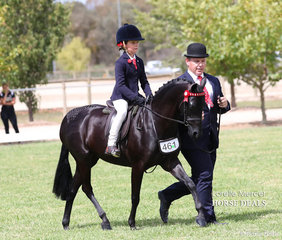 """Champion Lead Rein Pony """"Langtree Unique"""" ridden by Ivy Aikman, led by Jeremy Roberts & exhibited by Joanne Deane."""