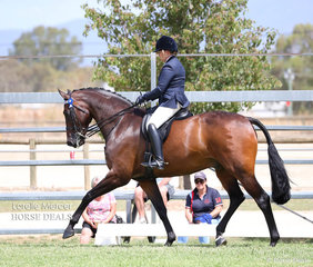 """Rachel Wessel rode the impressive """"Bella Rossa"""" to place Top 10 in her Rider 30 years & over class."""