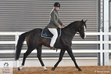 Hayley Hinchcliffe rode her, 'Doublehaich Whataclassic' to take third place in the class for Stallion Hack Five years and Over, Over 15hh.