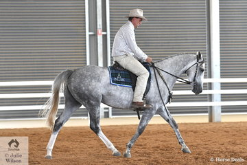 Gippsland Stock Agent and Australian Stock horse enthusiast Jason Fry, rode Todds Iglesia Rose to fourth place in the class for Hack filly 3 years old.