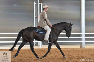 Equine Nutritionist for Barastoc Horse Feeds David Nash, rode Bullsey Kidman to win the Four Year old Mare Hack class.