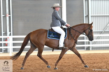 Kim McCallum rode her, 'Viewhill Flare' to win the class for Four Year Old Female Hack and go on to take out the Reserve Champion Junior Hack Award.