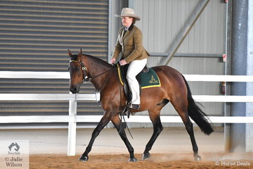 Ashlee Carrigan-Walsh is pictured riding Mitchel Carrigan-Walsh's, 'Kardinia Niah' during the Hack Challenge.