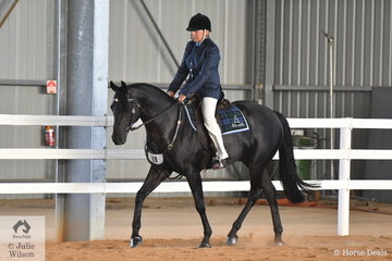 Janita Edwards is pictured aboard the South Australian bred, 'Chalani Tempo' during the Hack Challenge on day two of the 2019 Victorian ASH State Championships conducted at the Elmore Equestrian Park.