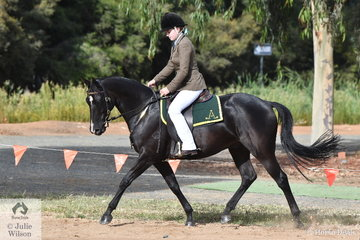 Imogen Mills rode , 'Bee Gee Piper' to take second place in the class for Junior Hack Rider 13 AU 18 Years.