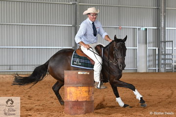 """David Nash is pictured aboard his and Emma Nash's, 'Bullseye Kidman' during the  Stephens Pasture Seeds Four Year Old Maturity. David and """"Sid"""" took second place overall."""