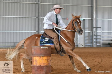 Darren Williamms is pictured aboard his , 'Priceless Monte Carlo' during the Time Trial section of the Stephens Pasture Seeds Four Year Old Maturity.