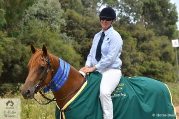 Kimberley McCallum rode her 'Viewhill Flare' (Stoneage Beacon/Ellendale Brittney) to claim the  Stephens Pasture Seeds Four Year Old Maturity.