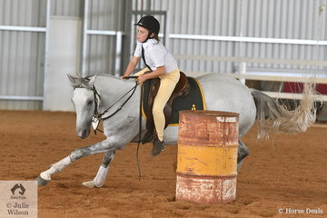Cassidy Fry rode her, 'Tyranook Steely Dan' to take fifth place in the Junior Barrel Race 13 AU 18 Years.