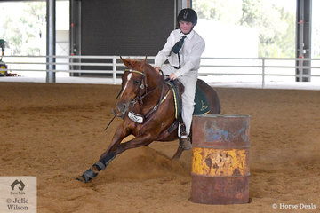 Jackson Clifford rode , 'Waronga Issues' to  take third place in the Junior Barrel Race Riders 13 AU18 Years.