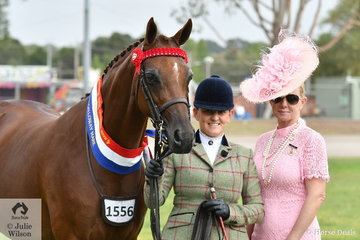 Briony Randle, pictured with Galloway judge, Kim Durante, led the BR Show Team and Judy Ivory nomination, 'KPS Simply Exquisite' to claim the Led Galloway Mare Championship.