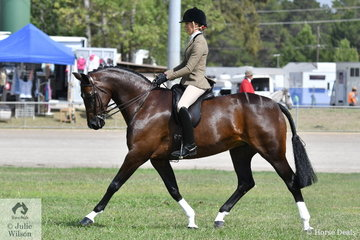 Successful young rider, Abby Heffer rode her impressive, 'AKS Rumour Has It' to win the class for Novice Show Hunter 15-16hh and ride away with the Best Novice Show Hunter Horse award.