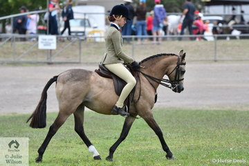 Jamie Ellis rode the Webster Family's, 'Mindarie Mystro' to win the class for Novice Show Hunter Pony 12-12.2hh.