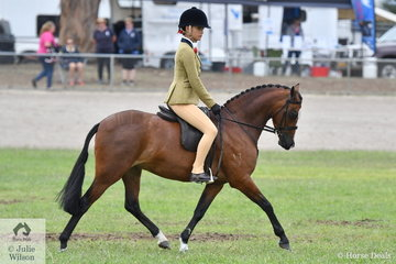 Tahlia Young rode Jeremy Roberts and Emma Richardson's nomination, 'Bamborough Oriana' to win the class for Novice Show Hunter Pony 12.2-13hh.