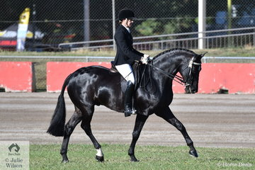 Successful rider, Angela Latter won the class for Lady Rider over 40.