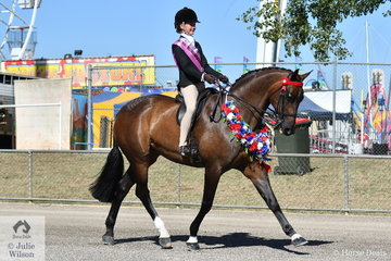 Kate Kyros from Adelaide won the class for Girl Rider 13 AU 15 Years and stepped aboard the successful Show Hunter, 'Federer' to claim the Supreme Junior Rider award.