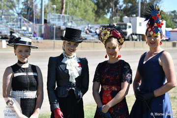 This quartet, L-R Chloe Dwyer, Brittney Tamou, Amy Taylor and Amie Want don't look as if they are dressed to muck out the stables. They are however in running for the Best Dressed Strapper conducted in conjunction with the Led Thoroughbred judging. Brittney Tamou won the class sponsored by Hats In Fashion (Kerry McGlone).