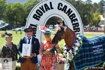 Candice Carroll's, 'CP Slimplicity' was declared Champion Gelding and Supreme Champion Led Thoroughbred. The victory was all the more sweet, as the horse was seriously ill in November. Candice is pictured with L-R Roz Keir, one of those  responsible for the 2019 ACTewAGl Royal Canberra Show and Thoroughbred judge, Brendan Mackay.