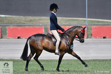 Tahlia Young is pictured aboard the Gerry and Telford nomination, 'Whitmere Ethereal' that won the class for Open Pony 12.2-13hh.