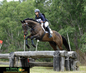 Horse Typhoon Fury and rider Sarah Holdsworth make the EvA95 cross country look like a breeze at the Sydney Eventing Summer Classic.