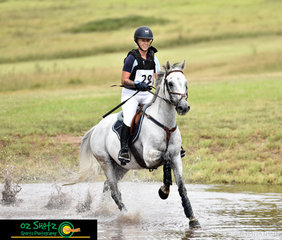 Not holding back in the EvA95 water complex is Chelsea Kay and Party Starter at the Sydney Eventing Summer Classic.